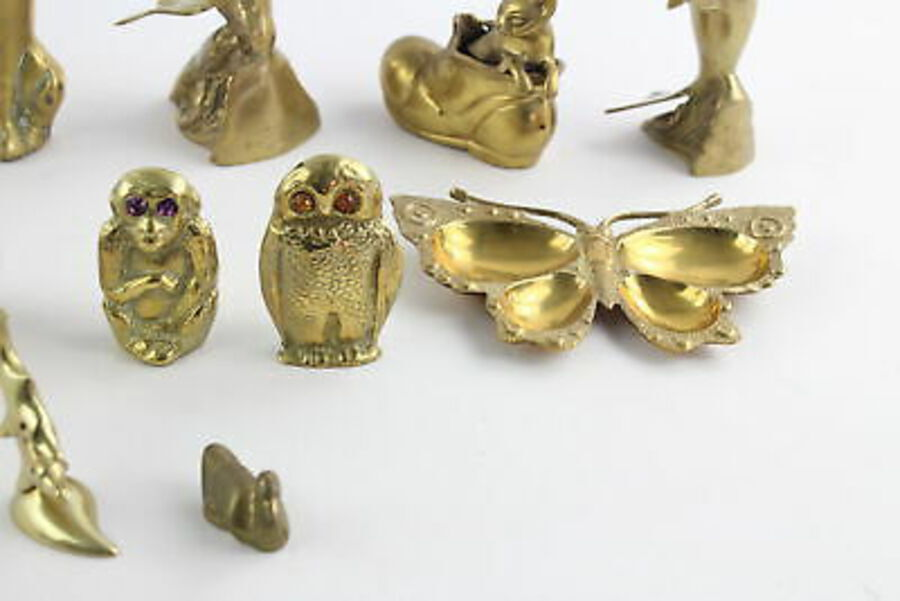 Antique 12 x Vintage Decorative BRASS Animals Inc. Peacock, Owl, Butterfly Etc (4329g)