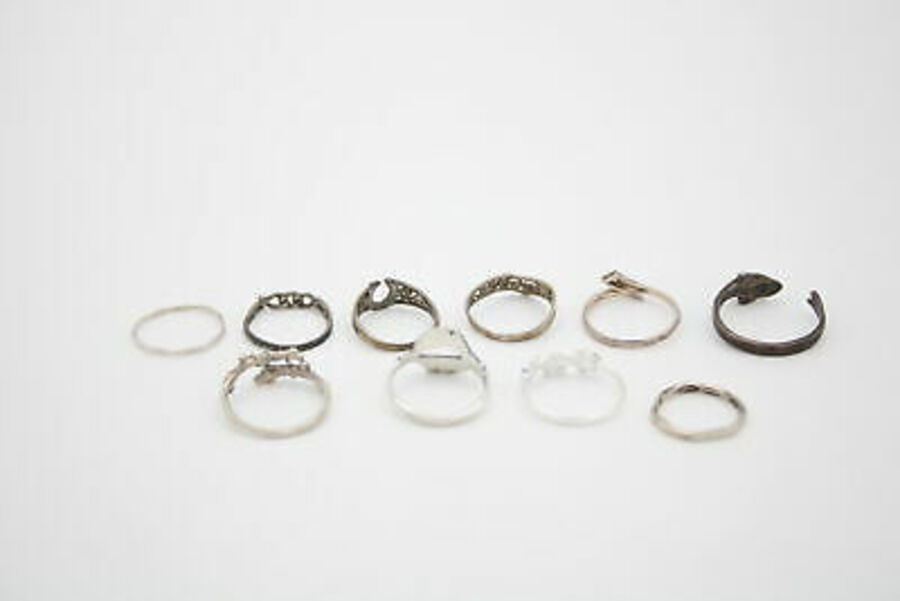 Antique 10 x .925 Sterling Silver RINGS inc. Whimsical, Fine, Stacking, Floral (15g)