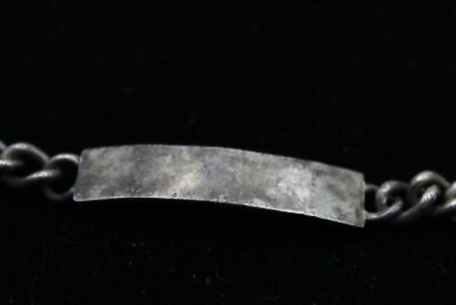 Antique Vintage .925 Sterling Silver ID BRACELET inc. Personalised, Curb Link (35g)