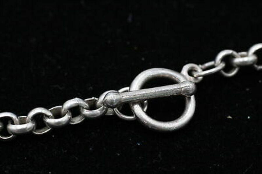 Antique .925 Sterling Silver, Rolo Link, T-Bar, Modernist, NECKLACE (22g)
