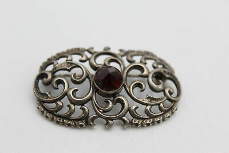 Antique 4 x Vintage .925 Sterling Silver BROOCHES inc. Amber, Amethyst, Garnet (21g)