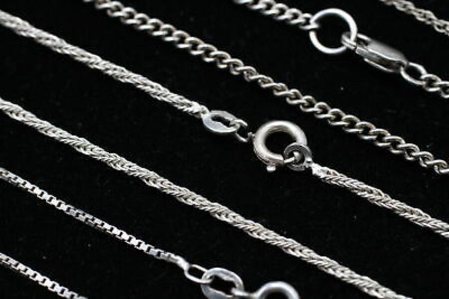 Antique 6 x .925 Sterling Silver ANKLETS inc. Rope Link, Box Link, Curb Link (17g)