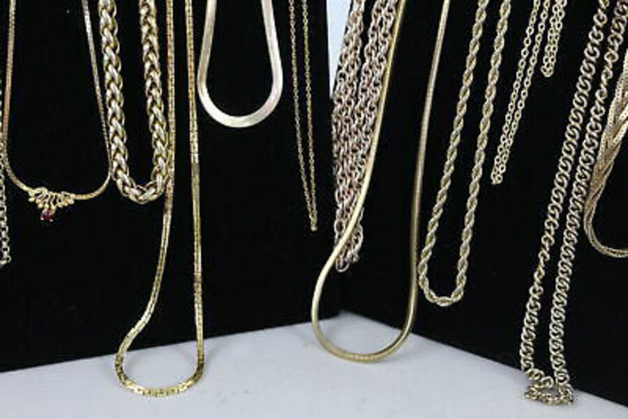 Antique 30 x Vintage & Retro Gold Tone CHAINS inc. Gold Plated, Chunky, Flat Curb Link