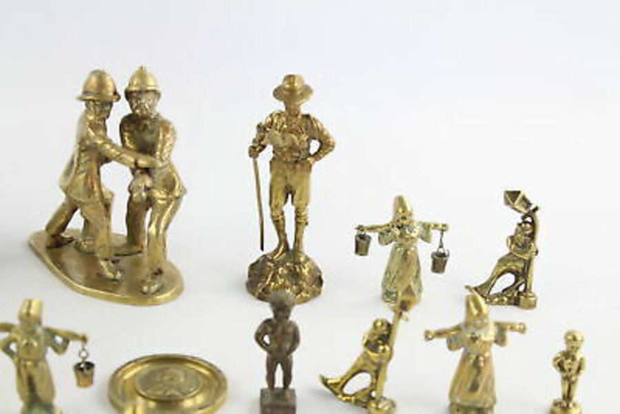 Antique 15 x Vintage Decorative BRASS Figures Inc. Large Miner, Policemen, Lady (5989g)