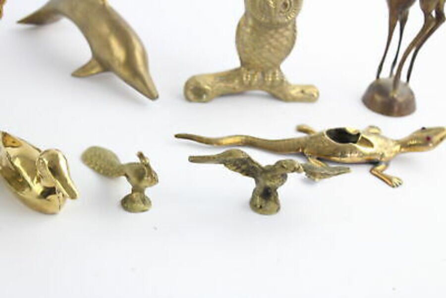 Antique 12 x Vintage Decorative BRASS Animals Inc. Solid Fox & Rabbit, Peacock (4244g)