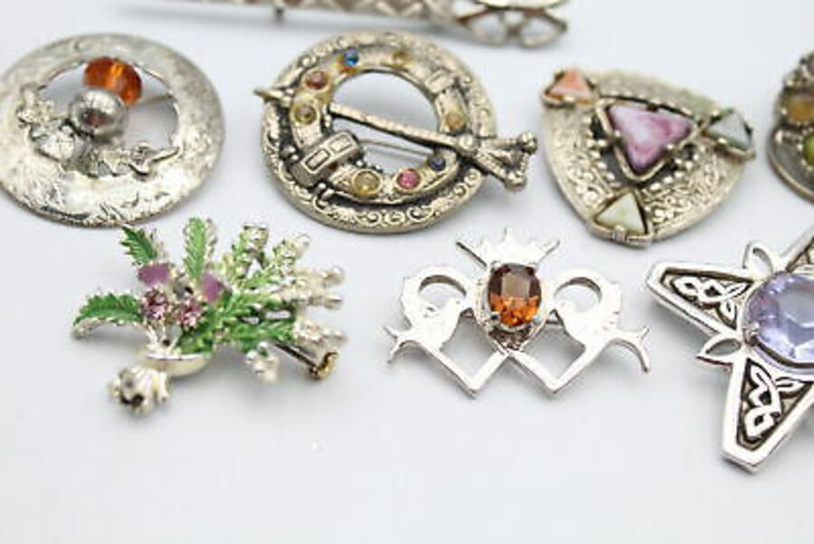 Antique 10 x Vintage SCOTTISH Brooches inc. Thistle, Lucky Heather, Paste, Celtic