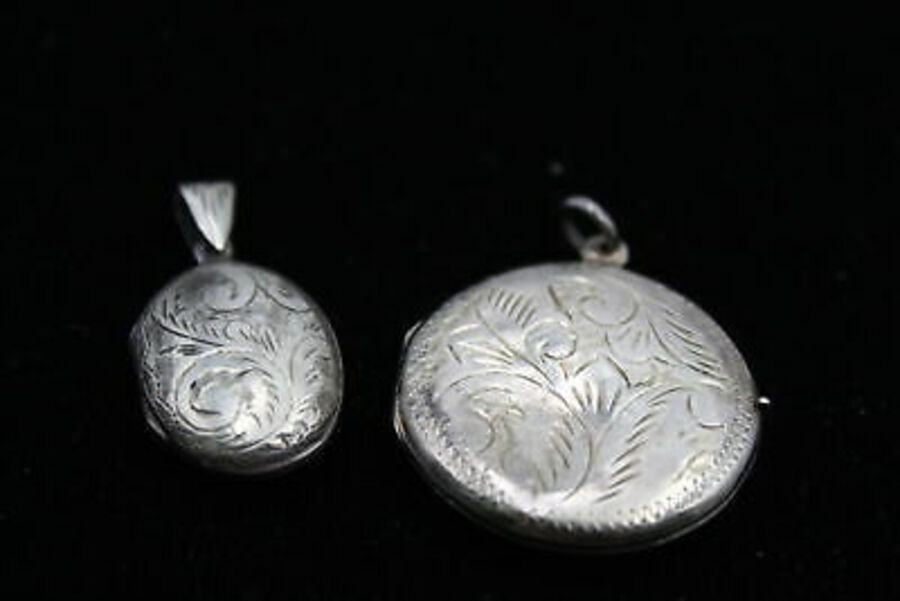 Antique 3 x Vintage .925 Sterling Silver LOCKETS inc. Engraved, Scrolling Design (17g)