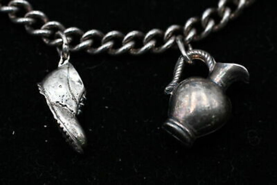 Antique .925 Sterling Silver CHARM BRACELET inc. Heart, Dog, Car, Boot (28g)