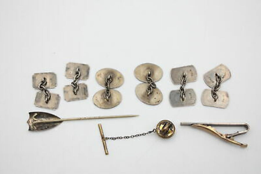 Antique 6 x Vintage .835 & .925 Silver CUFFLINKS & TIE PINS inc. Gold On Silver (31g)