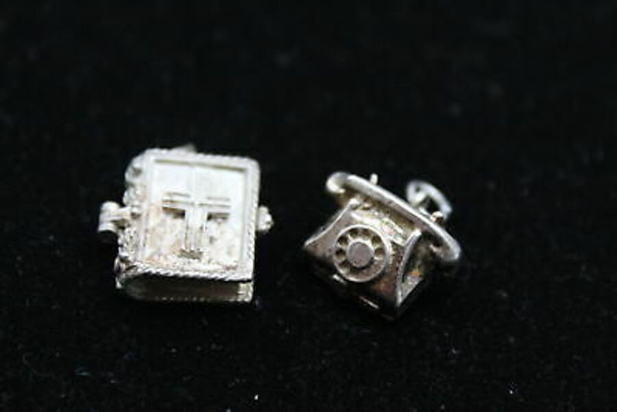 Antique 3 x Signed NUVO .925 Sterling Silver Charms / Pendants inc. Phone, Opening (11g)