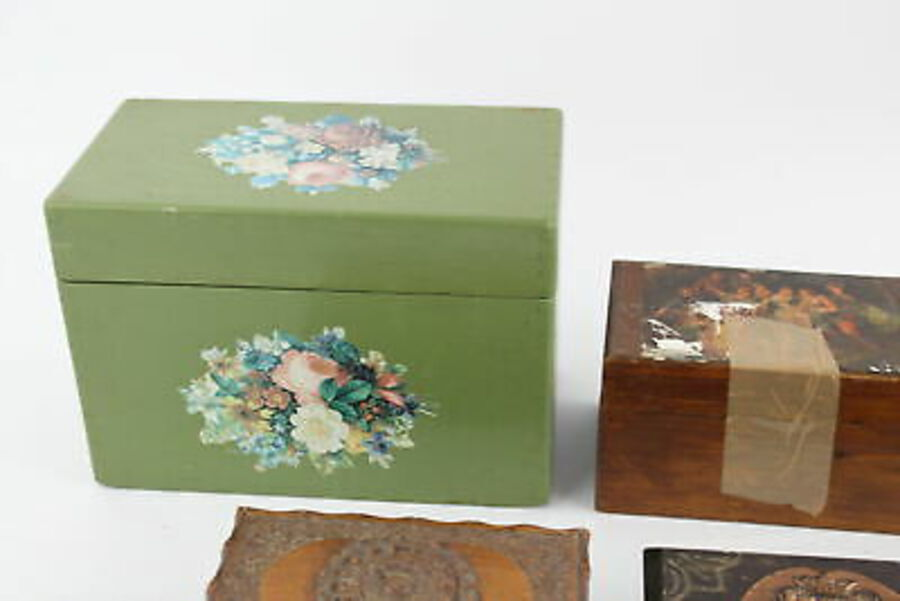 Antique 6 x Antique / Vintage Decorative WOODEN BOXES Inc Carved, Floral, Copper Etc