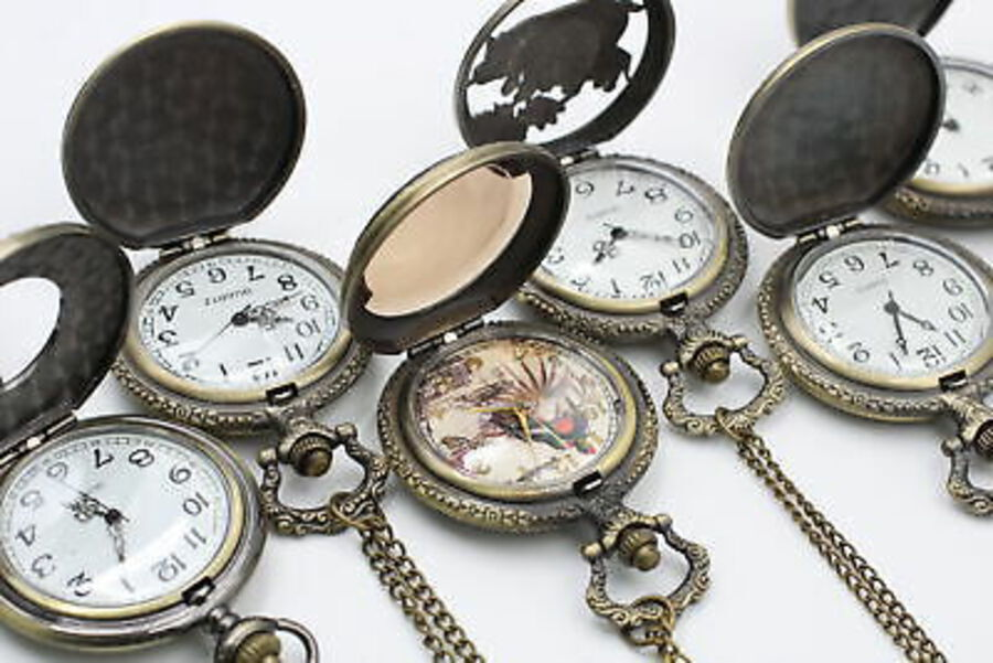 Antique 12 x Vintage Gents Collectors QUARTZ POCKET WATCHES Inc Rock Music, Wildlife Etc