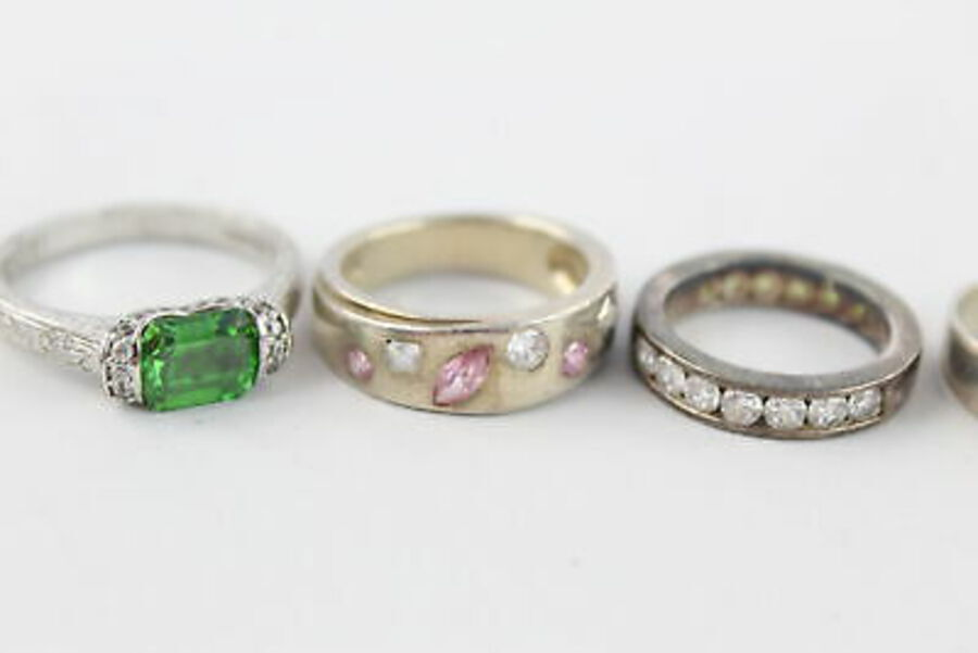 Antique 4 x .925 Sterling Silver RINGS inc. CZ, Green, Pink, Engraved, Cocktail (20g)