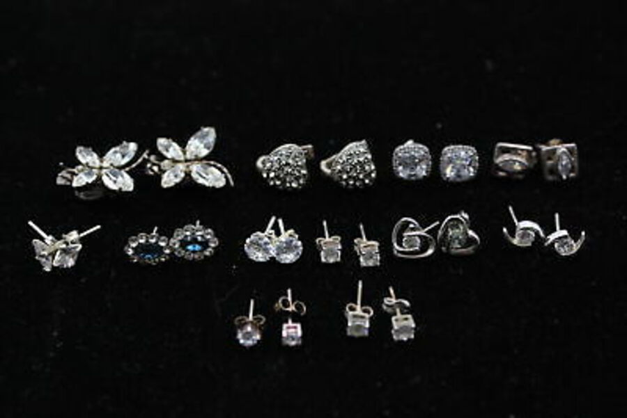 Antique 12 x .925 Sterling Silver EARRINGS inc. CZ, Butterflies, Hearts (19g)