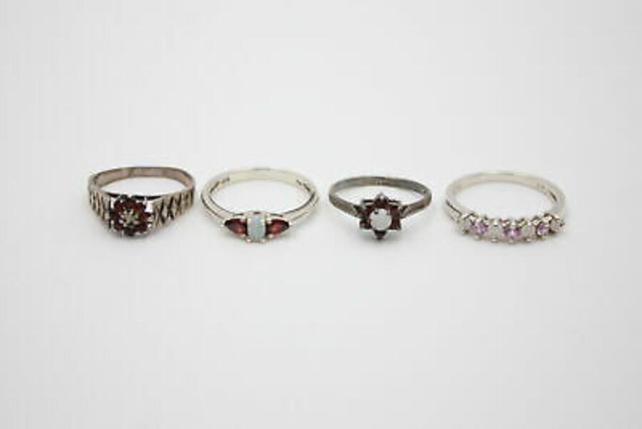 Antique 4 x .925 Sterling Silver RINGS inc. Opals, Garnets, Engraved (10g)