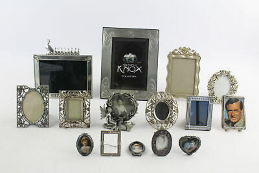 Antique 15 x Vintage SILVER PLATE & METAL Picture Frames Inc. Ornate Floral, Pewter Etc