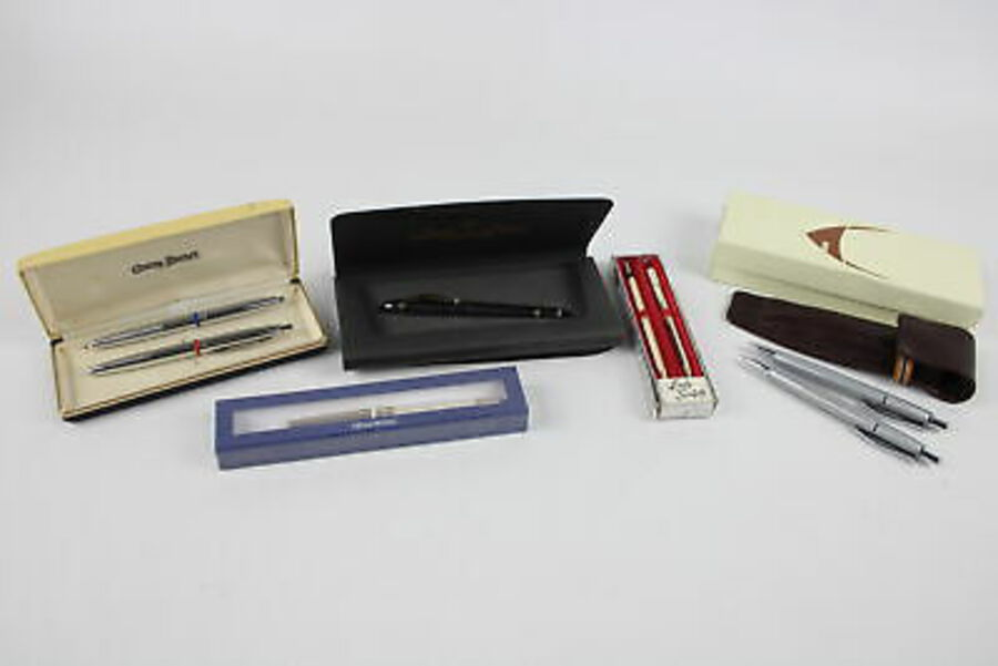 Antique 5 x Vintage Branded BOXED WRITING INSTRUMENTS Inc Swarovski, Renault, Fountains