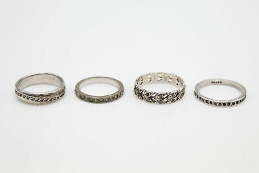 Antique 4 x Vintage .925 Sterling Silver RINGS w/ Art Deco, Eternity, Paste (10g)