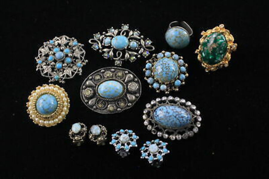 Antique 10 x Vintage PEKING GLASS Jewellery inc. Brooches, Rings, Earrings