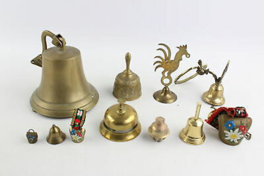 Antique 10 x Vintage BRASS BELLS Inc. Lady Bell, Wall Mounted, Zodiac, Desk Etc (2784g)