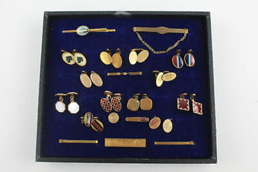 Antique 20 x True Vintage GENTS ACCESSORIES inc. Cufflinks, Tie Pins, Gold Front, Gilt