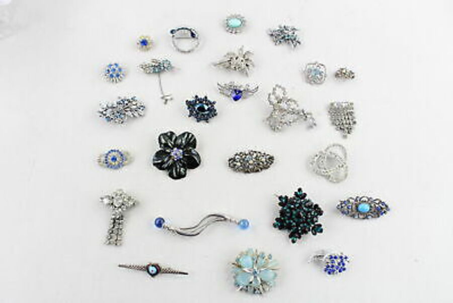 Antique 25 x Vintage & Retro BROOCHES inc. Milefiori, Exquisite, Blue, Filigree