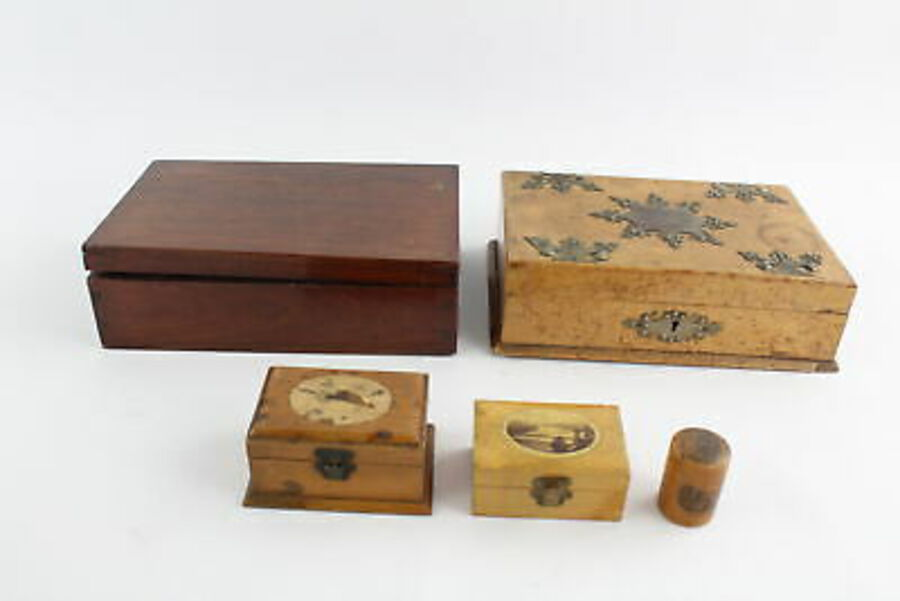 Antique 5 x Antique / Vintage Decorative WOODEN BOXES Inc Mauchline Ware, Walnut Etc