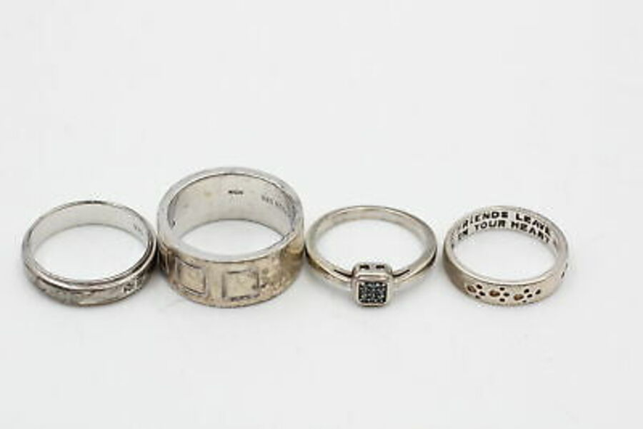 Antique 4 x .925 Sterling Silver RINGS inc. Diamonds, Bands, Pawprints, TGGC (20g)
