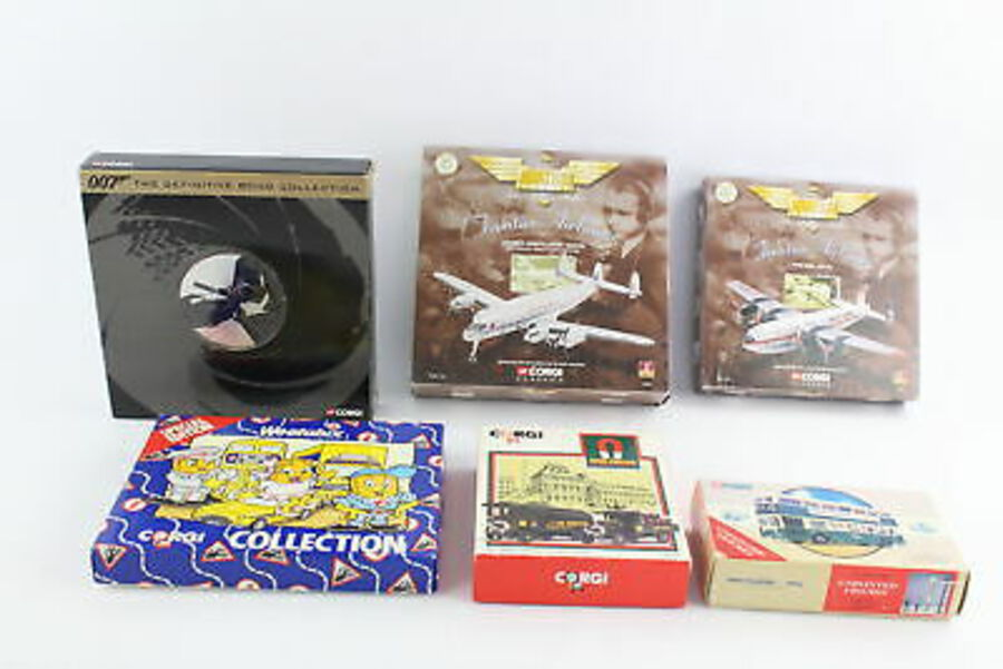 Antique 6 x Boxed CORGI Diecast Models Inc James Bond Collection, Frontier Airlines Etc