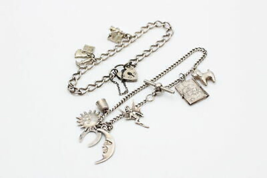 Antique 2 x .925 Sterling Silver CHARM BRACELETS inc. Heart Padlock, Book Charm (25g)