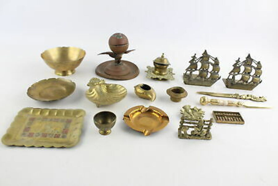 Antique 15 x Vintage BRASS Desk Accessories Inc. Inkwells, Mother Of Pearl Etc (4120g)