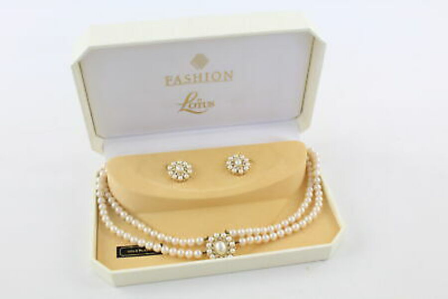 Antique Vintage Lotus FAUX PEARL NECKLACE & EARRING SET w/ Clip Ons, Boxed