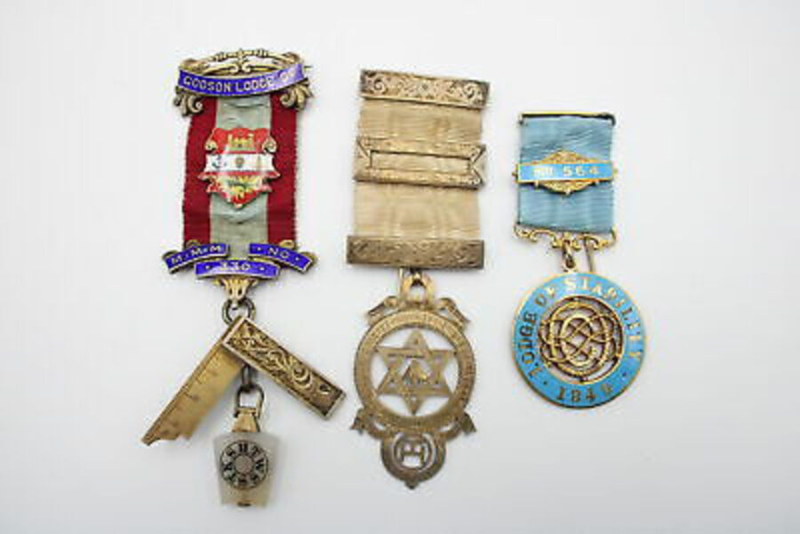 Antique 3 x Vintage Hallmarked .925 STERLING SILVER Masonic Medals / Jewels (79g)