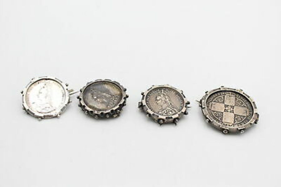 Antique 4 x .925 Sterling Silver Coin BROOCHES w/ 1887 Queen Victoria, Shillings (40g)