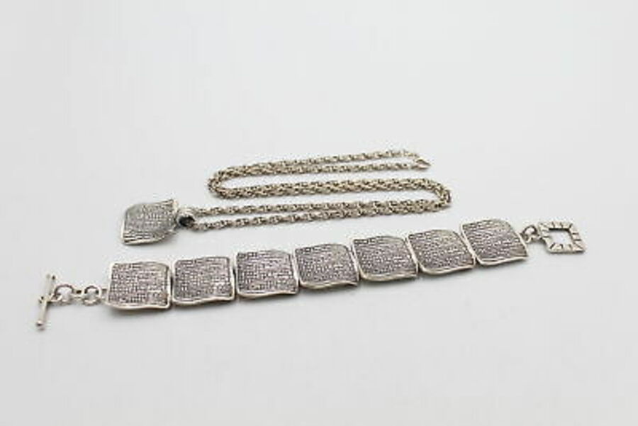 Antique .925 Silver Sterling JEWELLERY SET inc. Necklace, Bracelet, Sqaure Panels (59g)