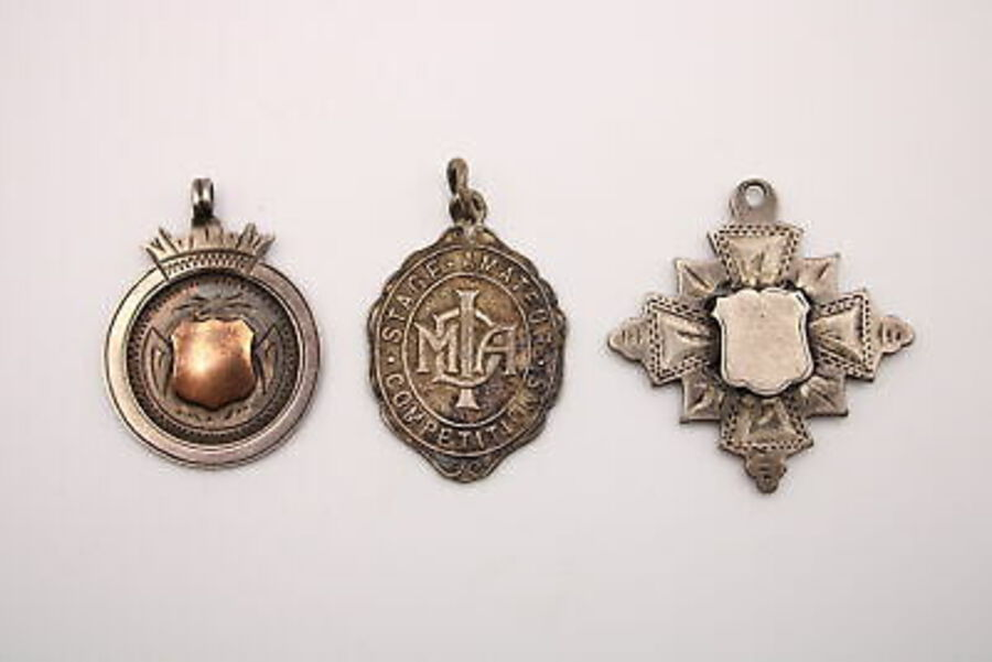 Antique 3 x Antique / Vintage Hallmarked .925 STERLING SILVER Fobs / Medallions (19g)