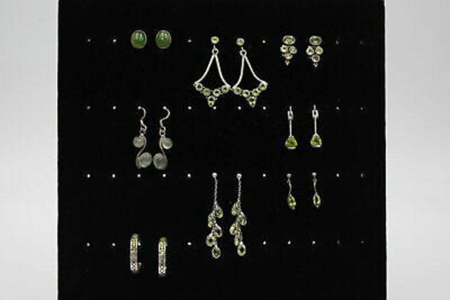 Antique 8 x .925 Sterling Silver EARRINGS inc. Peridot, Agate, Drops, Ornate (34g)