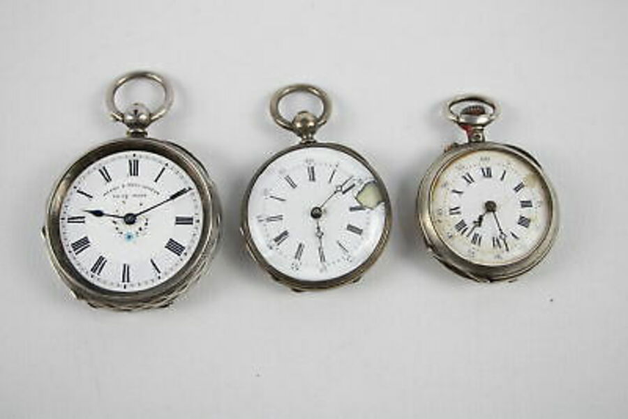 Antique 3 x Vintage Ladies Continental /.935 SILVER Cased Fob Watches Key/Hand-Wind 100g