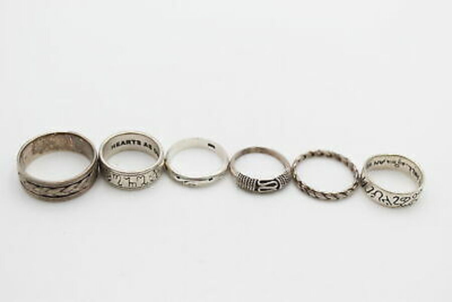 Antique 6 x .925 Sterling Silver RINGS inc. Bands, Ornate, Knot Work, Zodiac (21g)