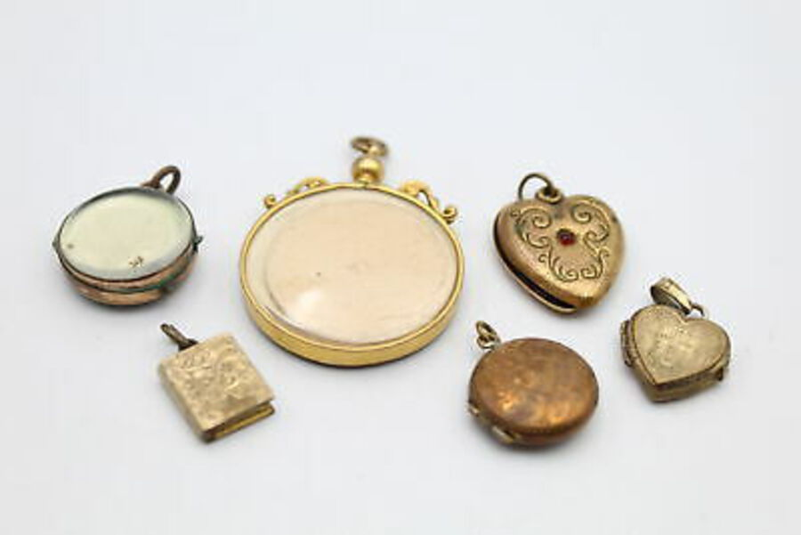 Antique 6 x True Vintage & Antique LOCKETS inc. Rolled Gold, Heart, Mourning, Book