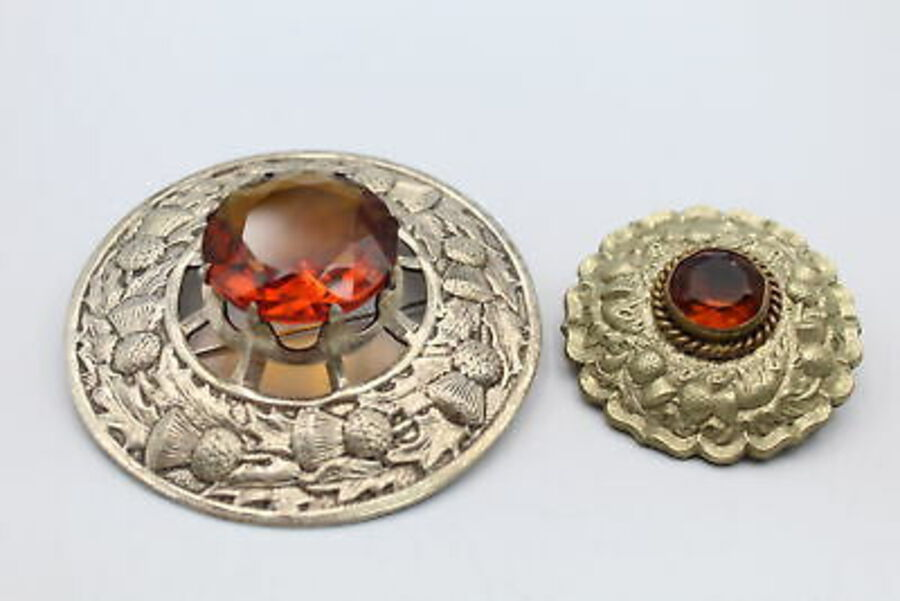Antique 2 x Antique SCOTTISH BROOCHES w/ Citrine Paste, Embossed Thistle Design
