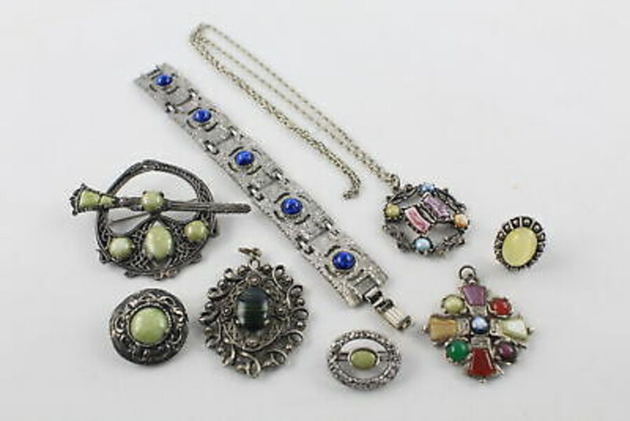 Antique 8 x Vintage SCOTTISH Jewellery inc. Miracle, Brooches, Bracelet, Faux Agate