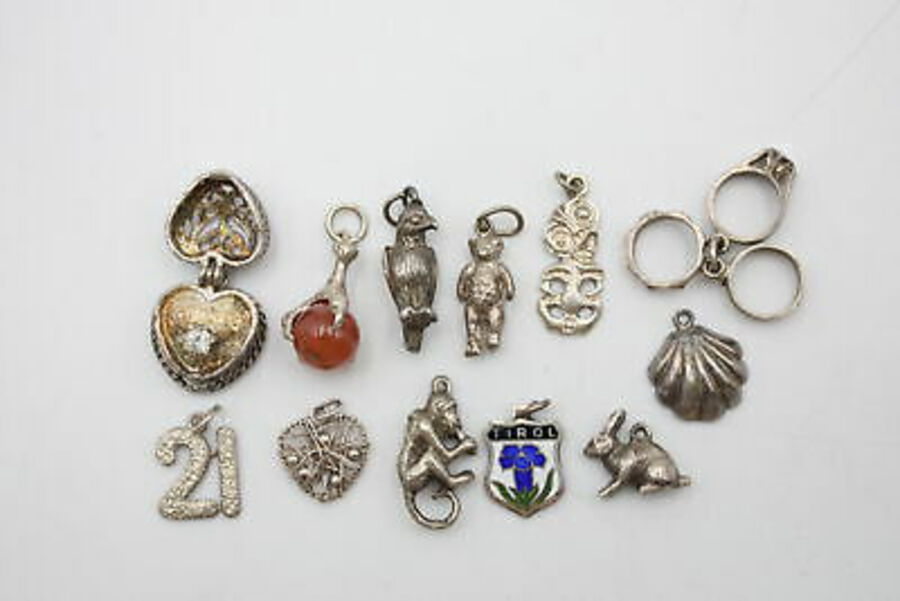 Antique 12 x Vintage .800 & .925 Silver CHARMS / PENDANTS inc. Animals, Opening (26g)