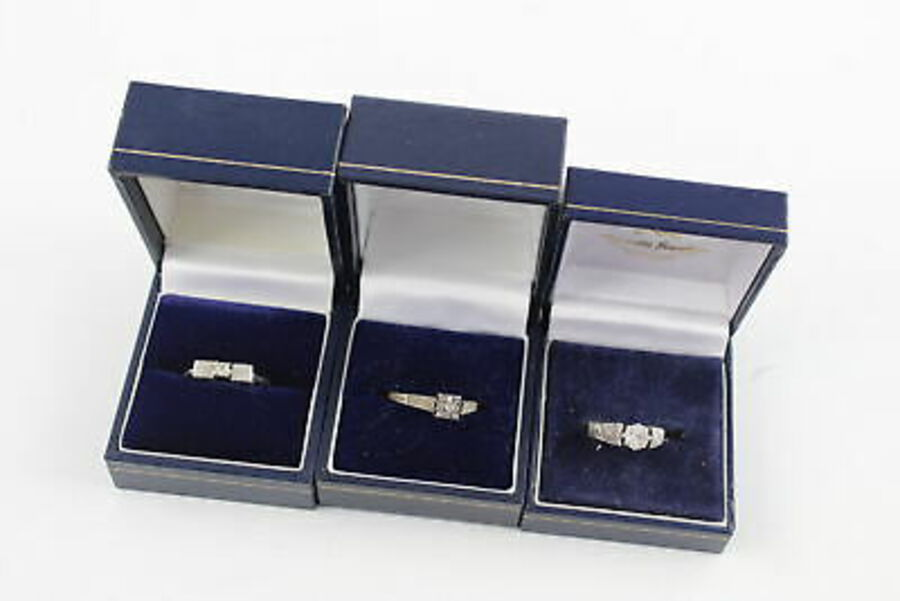 Antique 3 x Vintage .925 Sterling Silver RINGS inc. Brutalist, Textured, CZ, Boxed (6g)