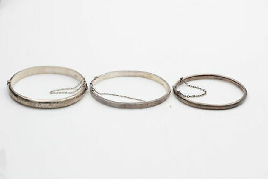 Antique 3 x .925 Sterling Silver BANGLES inc. Engraved, Scrolling Design (29g)
