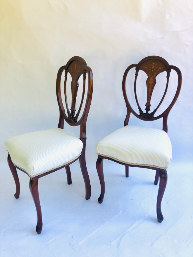 Antique  Fine Quality Pair of Inlaid Mahogany Victorian Side Chairs