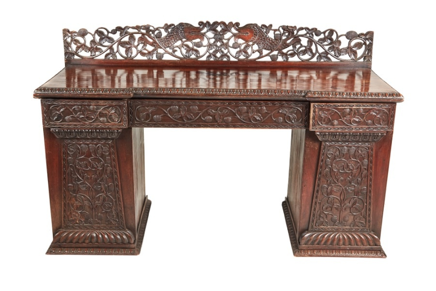 Antique Ornate Small Carved Anglo-Indian Padouk Pedestal Sideboard