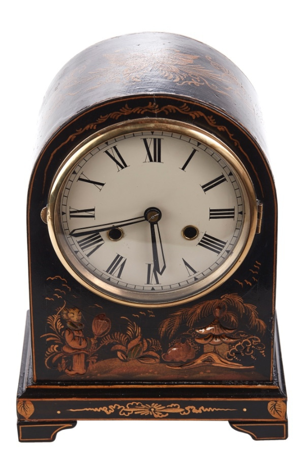 Antique Chinoiserie Cased Dome Topped Mantel Clock, circa 1920