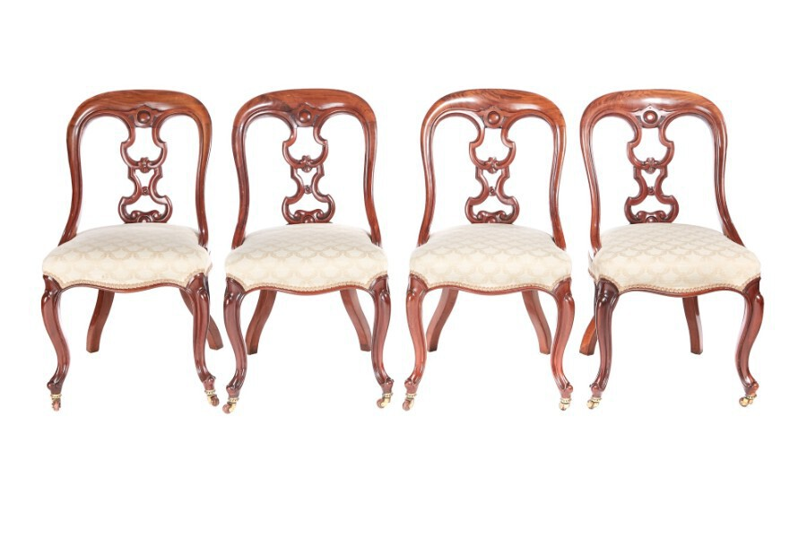 Antique Fine Quality Set of Four Victorian Mahogany Dining Chairs