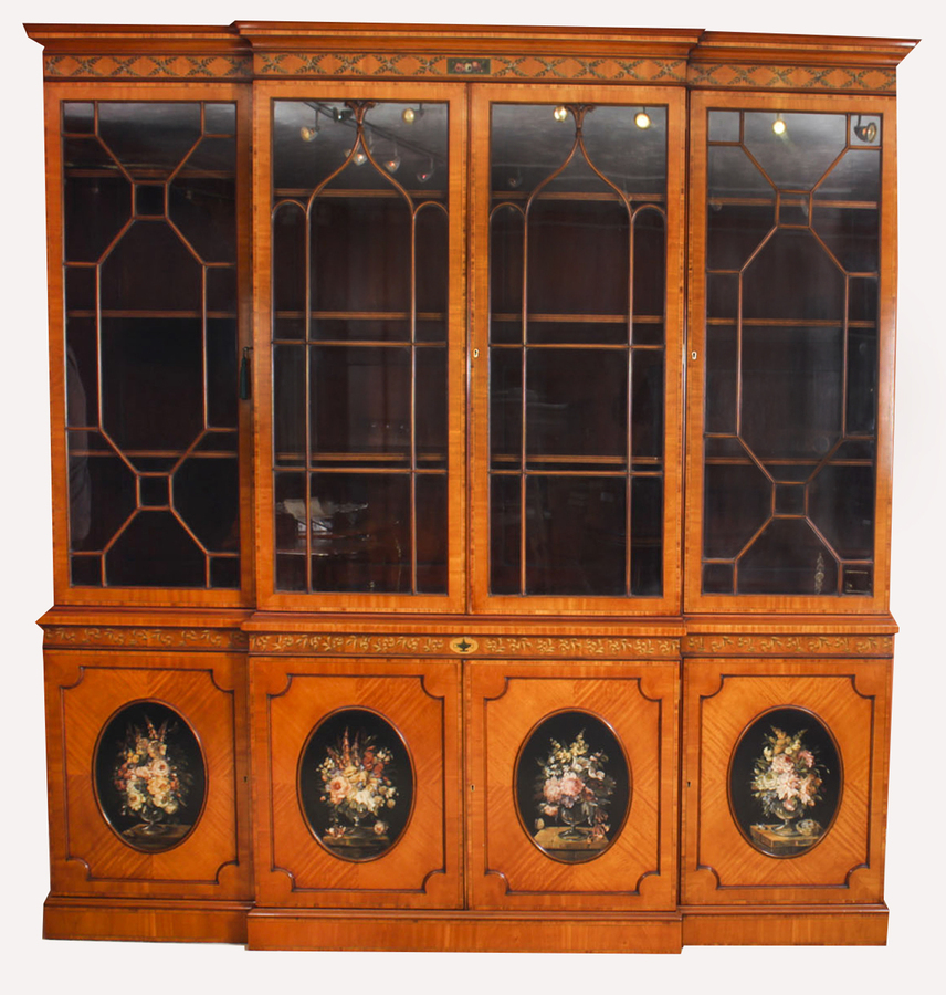 Antique Antique English Sheraton Revival Satinwood Breakfront Bookcase 19th C